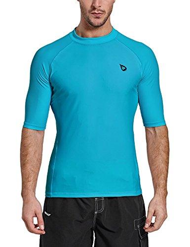 - Baleaf Men's Short Sleeve Rashguard Swim Shirt UPF 50+ Sun Protection Rash Guard Blue Size L