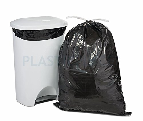 Price comparison product image Plasticplace 13 Gallon Black Drawstring Bags,  100 Count