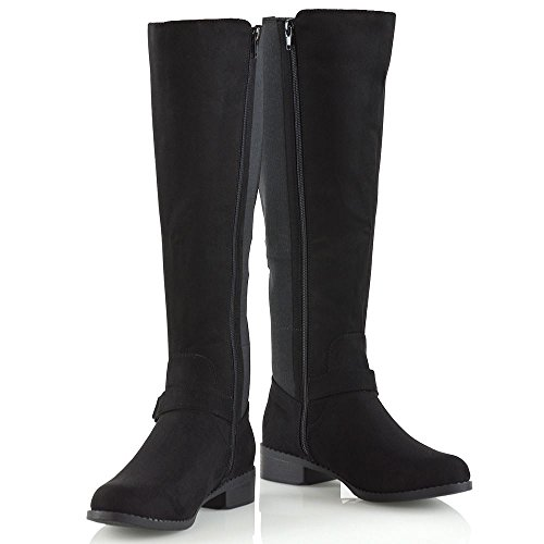 Calf New ESSEX Womens Leg Size Faux Flat High Buckle Heel Ladies Zip Stretch Boots Knee Suede GLAM Low Black F44w5rOq