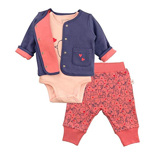 Baby Girl 3-Piece Set with Cardigan, Short Sleeve Bodysuit & Pink Pants 12 Month