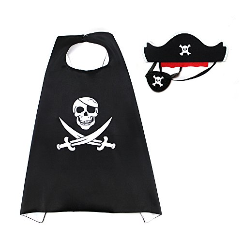 D.Q.Z Children Dress Up Pirate Costumes with Eye Mask Hat for Boys Girls Birthday Party Favors (Black Felt Pirate Hat)