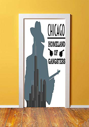 Vintage Decor 3D Door Sticker Wall Decals Mural Wallpaper,Double Exposure of Gangster with Gun on Chicago Skyscrapers Homeland of Mafia,DIY Art Home Decor Poster Decoration 30.3x78.15469,Grey Black