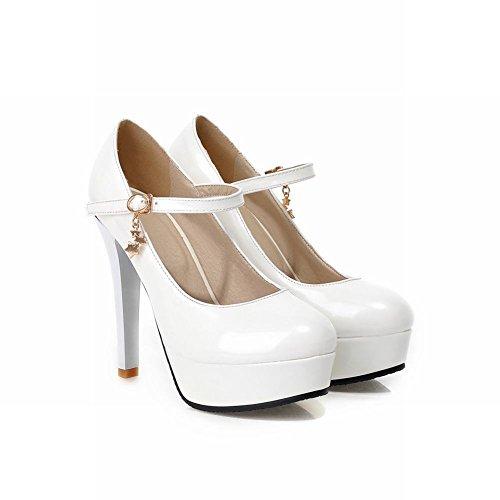 MissSaSa Damen elegant Plateau Knöchelriemchen Pumps mit Stiletto modern high-heel runde Spitze Schnalle Partyschuhe/Brautschuhe Weiß