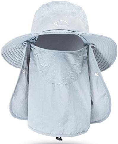 Fishing Hat for Men & Women, Outdoor UV Sun Protection Wide Brim Hat with Face Cover & Neck Flap