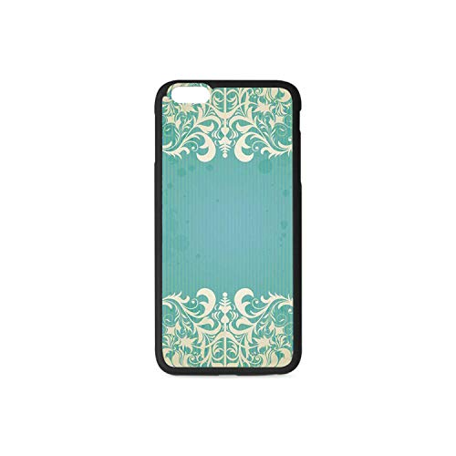 (Vintage Rubber Phone Case,Old Fashioned Frame with Grungy Ancient Floral Curlicues Baroque Revival Motifs Decorative Compatible with iPhone 6 / 6sPlus)