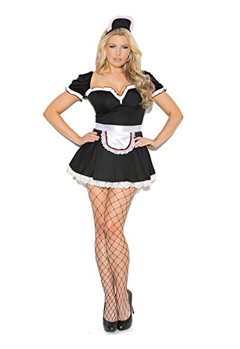 Hot Spot Women's Plus Size Sexy French Maid Adult Role Play Costume Black/White -