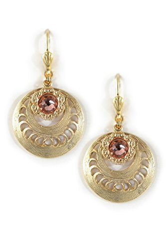 Clara Beau Deco Flower Medium Round Swarovski crystal dangle earrings EW19 Gold-Tone - (Swarovski Medium Flower)