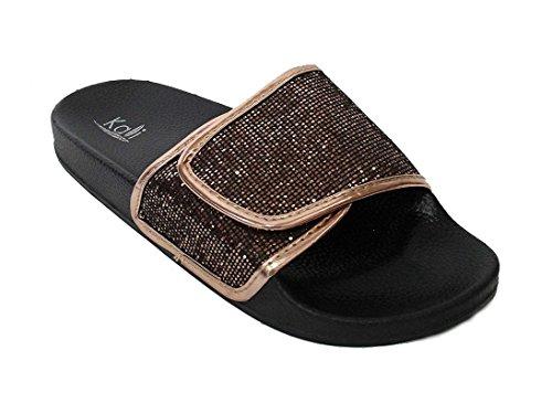 On Slip Bronze (Kali Women's Sparkle Glitter Slip On Sandals Space Bronze, 8)