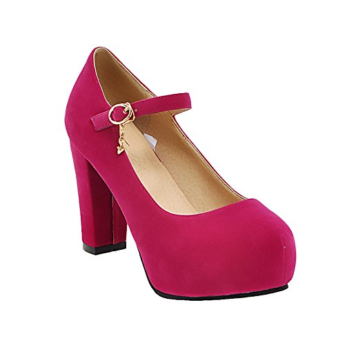 Mee Shoes Damen ankle strap Schnalle Plateau high heels Pumps Rosarot