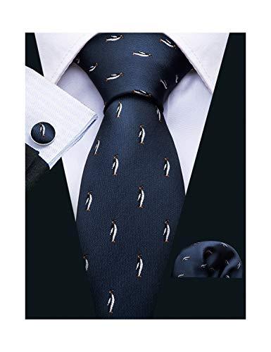 (Cute Ties with Penguin Gift for Men Necktie Set Classic Handkerchief Cufflinks)