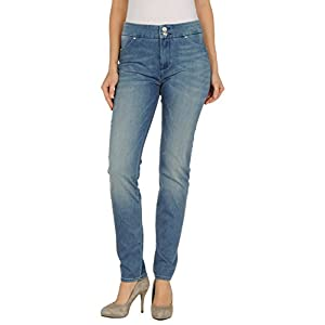 LEROCK Women's Medium Blue Straight Leg Whisker Washed Denim Jeans Sz 27 New