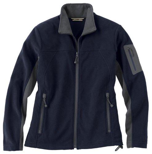 Ladies' Full Zip Microfleece Jacket, Color: Midnight Navy w/Fossil Grey, Size: Medium