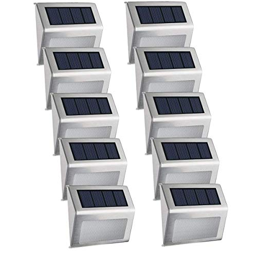 ([10 Pack] Solar Step Deck Lights, Easternstar 4 LED Solar Powered Stainless Steel Weatherproof Outdoor Lighting for Wall Stair Path Patio Fence Dock Landscape)