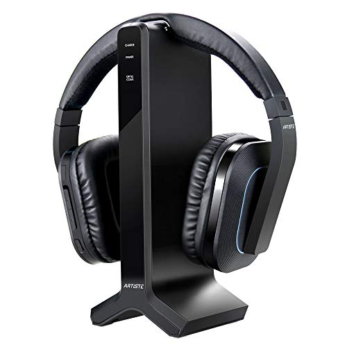 D1 Wireless TV Headphone 2.4GHz Digital Transmitter Charging Dock Multiple Headphones Connection Optical Coaxial RCA with Headphone Headset for Computer TV Radio by Artiste
