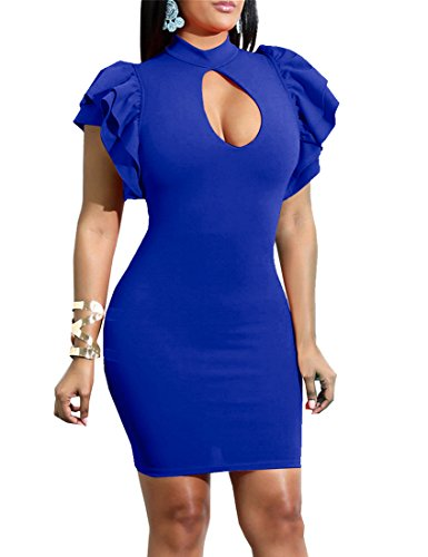 Mokoru Women's Sexy Ruffle Short Sleeve Hollow Out Bodycon Party Mini Club Dress, Large, Royal Blue