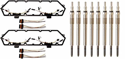 Price comparison product image 94-97 Ford Powerstroke 7.3L Diesel Glow Plug Set - Gaskets Harnesses + 8 Plugs