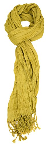 Love Lakeside-Women's Must Have Solid Color Crinkle Scarf (One, Avocado Green) by Love Lakeside