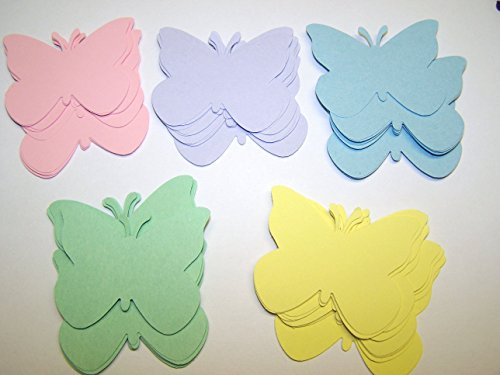 50 Pastel Paper Butterfly Die Cuts, Pink Purple Blue Yellow Green Butterfly Cut Outs, 2 Inch Butterfly, Wedding, Birthday, Baby Shower, Large Butterfly Confetti Butterfly Pastel
