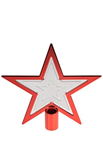 Red & White Star Christmas Tree Topper by Clever Creations | Festive Christmas Decor | Sparkling Red & White Shatter Resistant Plastic | 6.5
