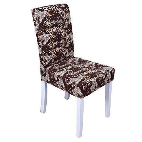 Slipcovers Chair Cover Household One-Piece Chair Cover Fabric Leopard-Print Seat Decoration Hotel Chair High-Elastic Dust Cover (Color : Brown, Size : 6piece) (Dining Chair Room Leopard Covers)