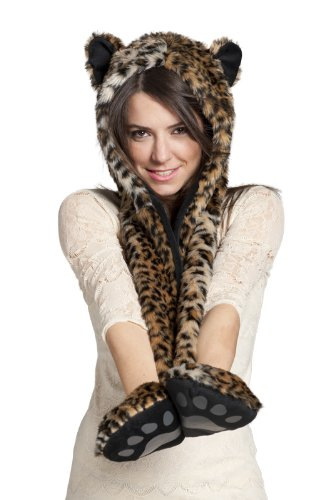 FAUX FUR ANIMAL SKI HATS HOODS LEOPARD WITH MITTENS UNISEX GLOVES SCARF WITH PAWS (Bear Hood With Paw Scarf)