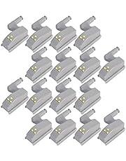 COSORO 16stks kast scharnier LED Sensor Licht voor Woonkamer/Slaapkamer/Kledingkast/Keuken Cupboard, Kastje Nachtlampjes Kleur: wit