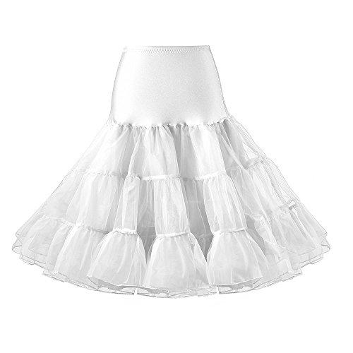 Lidory Ridory Womens 1950s Vintage Petticoat Skirts Crinoline Underskirt Slip Tutu (M, White)