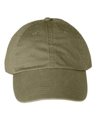 Anvil - 6-Panel Pigment-Dyed Twill Cap >> One size,KHAKI