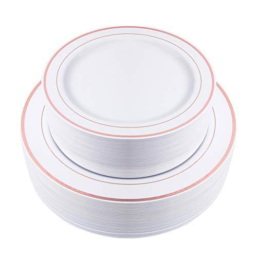 102 Pieces Rose Gold Plates, Plastic Party Plates, Premium Heavyweight Disposable Wedding Plates Includes: 51 Dinner Plates 10.25 Inch and 51 Salad/Dessert Plates 7.5 Inch