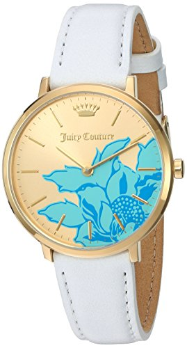 Juicy Couture Leather White - Juicy Couture Women's 'LA Ultra Slim' Quartz Gold-Tone and Leather Quartz Watch, Color:White (Model: 1901457)