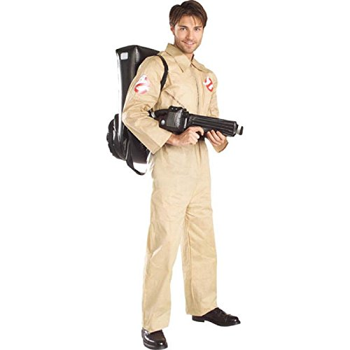 Man In The Box Costume (Ghostbusters Costume With Inflatable Backpack, Tan, Adult Standard)