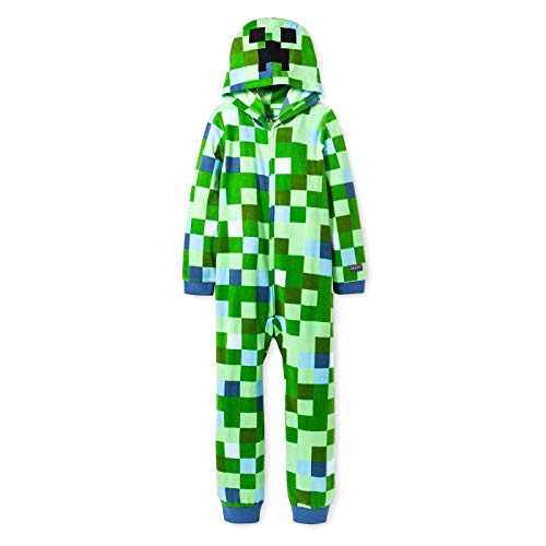 AME Minecraft Charged Creeper Fleece Hooded Union Suit Boys Pajamas, Green, Medium / -