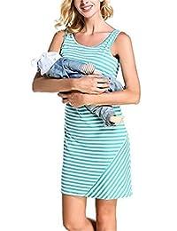 MCieloLuna Womens Maternity Pregnant Breastfeeding Nursing Striped Dress