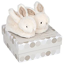 DOUDOU ET COMPAGNIE - White Bunny Booties 6-12 Months With Rattles