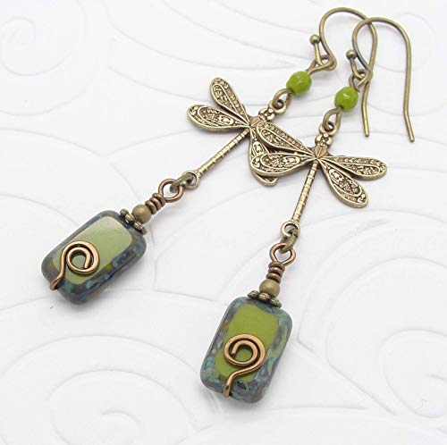 (Boho Dragonfly Earrings in Olive Green and Brass )