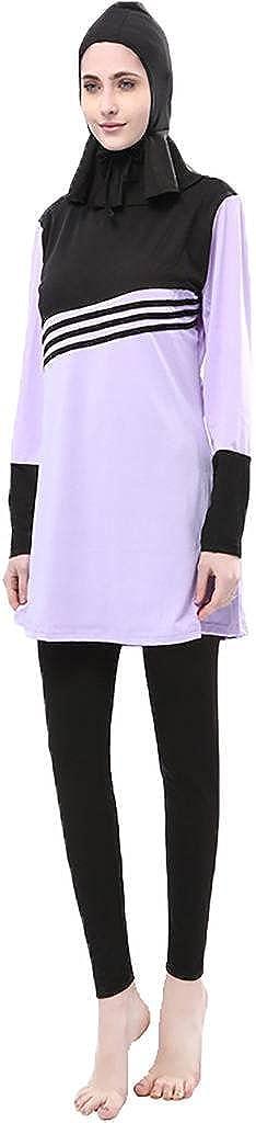 Ababalaya Damen Muslimisch Islamisch dreiteilig Drucken Volle Deckung Badebekleidung Burkini Badeanzug mit Hijab Übergröße EU-Größe 36-46 JLA-2