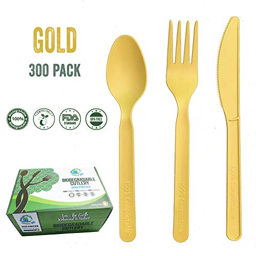 Compostable Biodegradable Disposable Cutlery Utensils Combo Set 300 Pieces 100 Forks 100 Knives & 100 Spoons Matte Gold Sturdy Durable Heat Resistant 100% Plastic-Free (7 inches) by Enviro 360