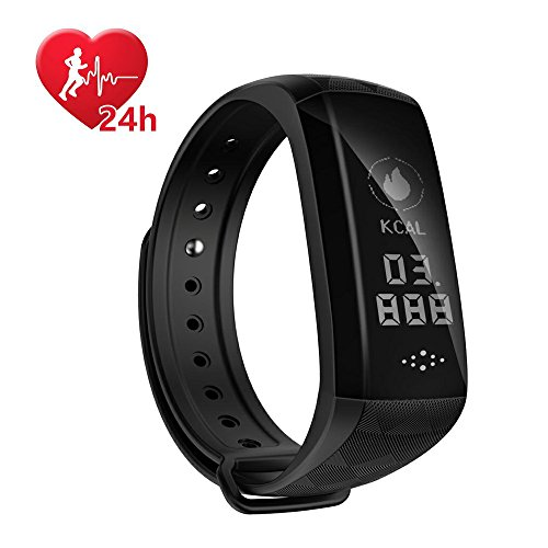 Fitness Tracker,Coolbit Activity Tracker Smart Band Calorie Counter Sports Bracelet Health Monitor Wristband W/ 24h Continuous Heart Rate Sleep Monitor Waterproof Smart Watch for Android & IOS Phones (Bracelet Silicone Usb)