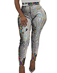 Women's Colorful Sequin Decorative High Waist Leggings