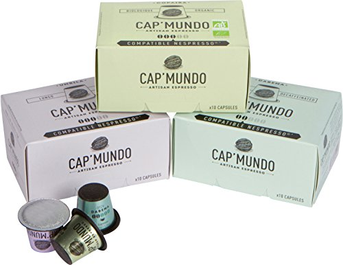 30 Nespresso Compatible Capsules - Cap Mundo Paris - French Artisanal Coffee - Coordinated, Lungo and Decaffeinated Blends (Specialty Roasts, 30 Pods for OriginalLine Machines)