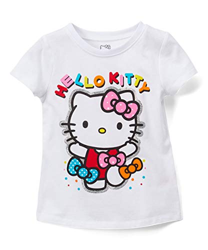 Hello Kitty Girls Short Sleeve Tee Shirt with Glitter Print (White, 4)
