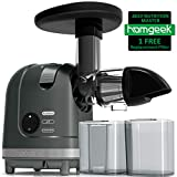 Masticating Juicer, Homgeek Cold Press Juicer with Quiet Motor & Reverse Function, Slow Juicer for Vegetables, Wheatgrass and Fruits