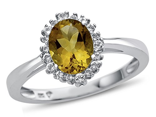 - Finejewelers 10k White Gold 8x6mm Oval Citrine with White Topaz accent stones Halo Ring Size 8.5