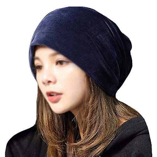 YAOSEN Warm Winter Skull Cap Solid Color Velvet Hat Slouchy Beanie Cap (Navy) -
