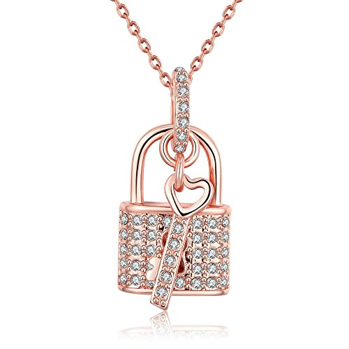 Necklace Rhinestone Heart Lock (PWMEN Pendant Necklace,Womens Sweet Love Heart Lock Pendant Jewelry Silver Color Rhinestone Fashion Snake Chain Necklace(AKN014,Rose Gold))