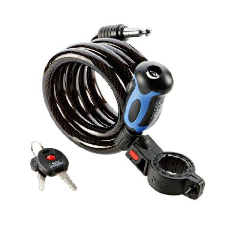 BURG-WÄCHTER Spiralseilschloss mit beleuchtetem Schlüssel, inkl. 2 Schlüssel, Mit Halterung für Fahrräder, Automatisch schließend, Länge: 150 cm, 1345 150 L