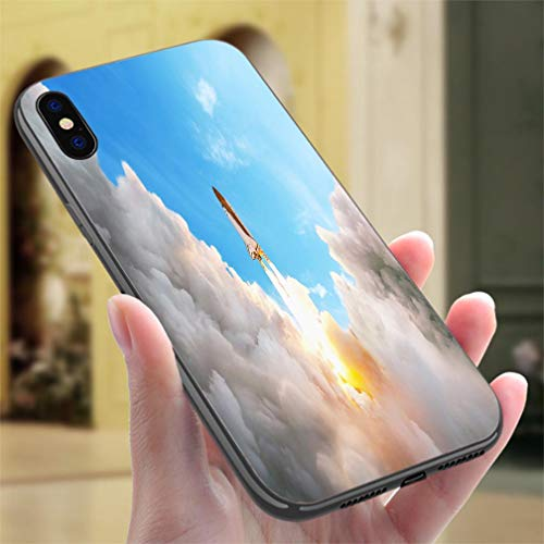 Creative iPhone Case for iPhone 7P/8P Space Shuttle Taking Off on a Mission Spaceship Flying Resistance to Falling, Non-Slip,Soft,Convenient Protective Case ()