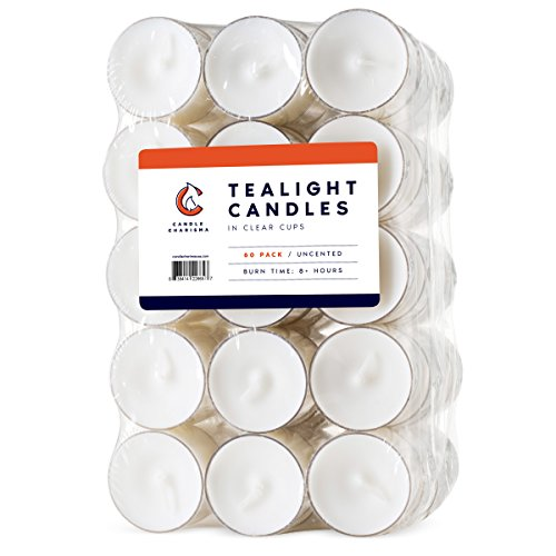 60 Pack Tealight Candles 8 Hours Long Burning in Clear Cups - Unscented - White (Set of - Candles Tea Lasting Long