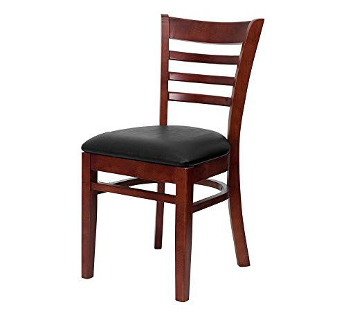 Furniture Mahogany Finished Ladder Back Wooden Restaurant Chair - Black Vinyl Seat Home Office Commerial Heavy Duty Strong Décor