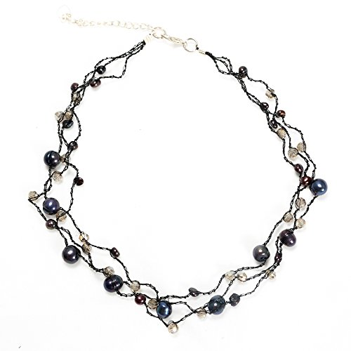 Genuine Peacock Black Dyed Cultured Freshwater Pearl Three (3) Strand Necklace, 16-18 inches